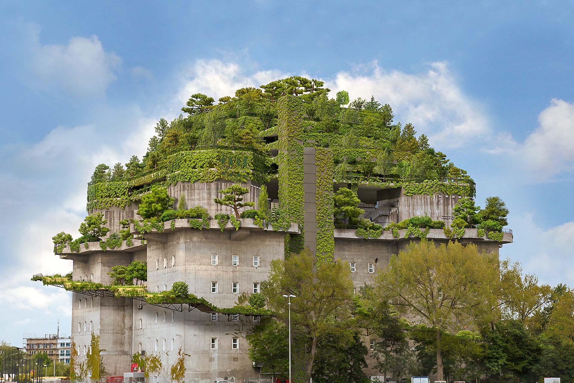 Projekte: Stadtgarten in Hamburg (2020-2021) - Aufstockung des Bunkers